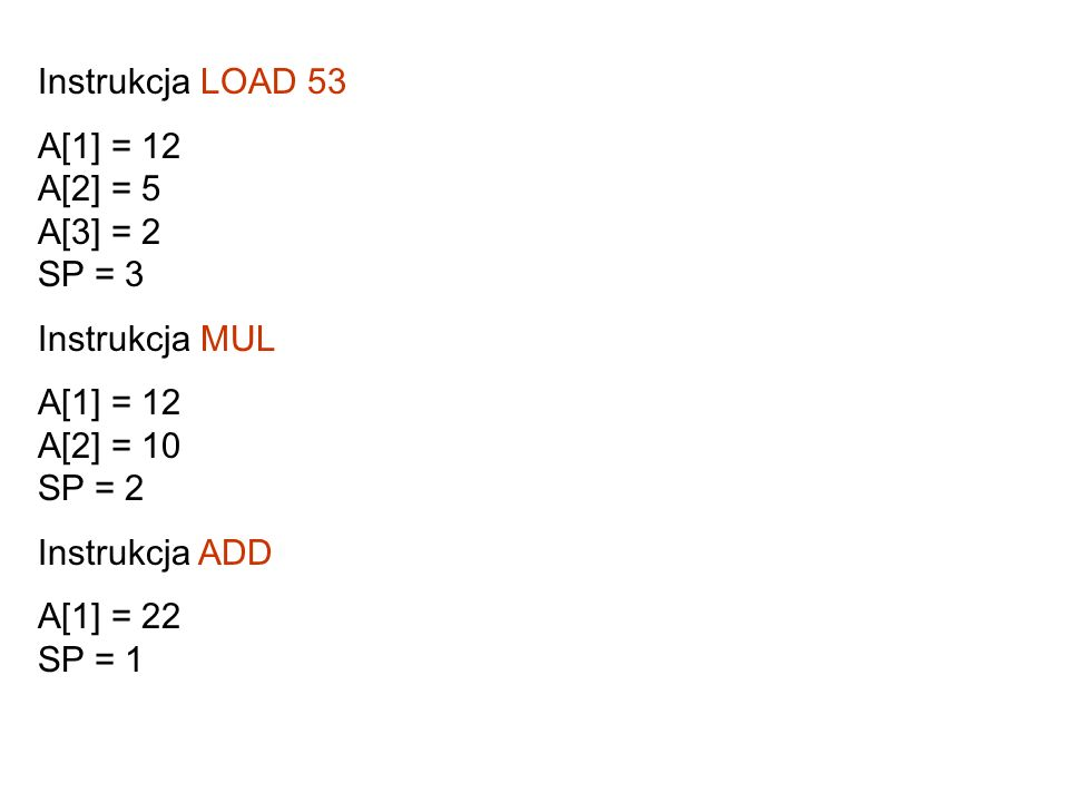 Instrukcja LOAD 53 A[1] = 12 A[2] = 5 A[3] = 2 SP = 3. Instrukcja MUL. A[1] = 12 A[2] = 10 SP = 2.